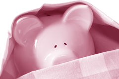 Under Cover Piggybank. Piggybank hiding under cover.  Too scared to come out Stock Image