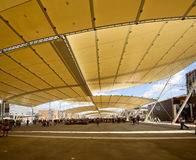 Under Decumano  tensile roof, EXPO 2015 Milan. MILAN, ITALY - June 24: view of the tensile roof covering main walk at exhibition, shot  on jun 24 2015  Milan Royalty Free Stock Image