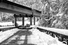 Under den blåa Ridge Parkway In Snow Arkivbild