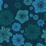 Under den sömlösa modellen för vatten - undervattens- tema för blå blom- repetitionbakgrund - som är stor som ett sommartextiltry royaltyfri illustrationer