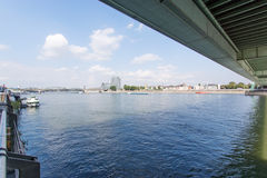 Under the Deutzer Bridge from the Rhine River Royalty Free Stock Images