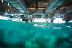 Under a Dock photo with lot of Waves Royalty Free Stock Images