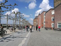 Under the Dusseldorf City Sun besides the Rhine River Royalty Free Stock Photo