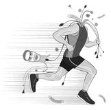 Under the effect doping broken runner sportsman without head  thoughts . Royalty Free Stock Photo