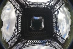Under the eiffel. Tower in Paris Royalty Free Stock Photo
