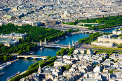 The View of Pont Alexandre III and Place de la Concorde. From above, Paris, France Royalty Free Stock Photos