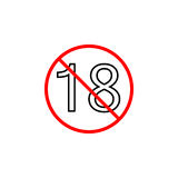 Under eighteen line icon, Adults only content. Prohibition sign, forbidden No 18 years old, vector graphics, a linear pattern red on a white background, eps 10 Royalty Free Stock Photo