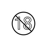 Under eighteen line icon, Adults only content. Prohibition sign, forbidden No 18 years old, vector graphics, a linear pattern on a white background, eps 10 Stock Photo