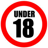 Under eighteen sign Royalty Free Stock Photos