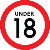 Under eighteen sign. Isolated on white background Royalty Free Stock Photography