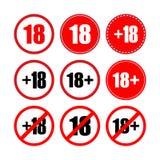 Under eighteen years set. 18 plus vector. Web icon. Vector illustration vector illustration