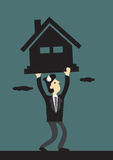 Under Financial Pressure of Mortgage Loan Vector Illustration. Vector cartoon illustration of business executive struggling under the pressure  a heavy house Stock Photos