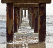 Under fishing pier in Florida Stock Photo