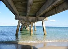 Under the Fishing Pier Stock Photo