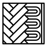 Under floor heating icon, outline style stock illustration