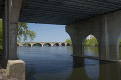 Under the Founders Bridge in Hartford, Connecticut. Springtime view under Founders Bridge over the Connecticut River, with arches of the Bulkeley Bridge in the Stock Photos