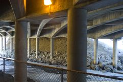 Under the freeway. Icey river running underneath the interstate highway in Colorado Stock Photography