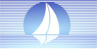 Under full sail. Sailboats silhouette royalty free illustration
