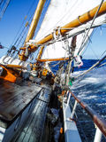 Under full sail in the Pacific ocean on a fast schooner stock photography