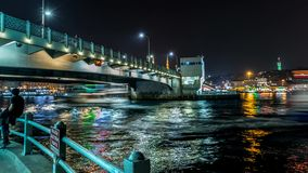 Under the Galata Bridge. Time Lapse using emotimo tb3 in 4K under the Galata bridge in Istanbul, Turkye stock video