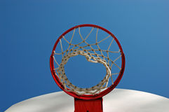 Under the Goal. The viewpoint under an empty basketball net Stock Photo