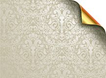 Vector wallpaper design with folded golden corner. Under the grayish silver flourishes can be seen a gold background. Design can be used for various Christmas Stock Photo