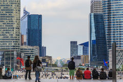 Under Great Arch of La Defense Royalty Free Stock Photo