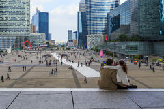 Under Great Arch of La Defense Royalty Free Stock Image