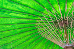 Under an green umbrella. Stock Photo