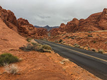 Under the grey sky, Valley of Fire Stock Photography