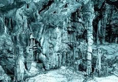 under ground. beautiful view of stalactites and stalagmites in underground cavern stock images