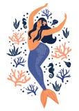 Under havskortet med sjöjungfrun, sidor, snäckskal och fisken Pastellfärgade färger för enkel och gullig illustration royaltyfri illustrationer