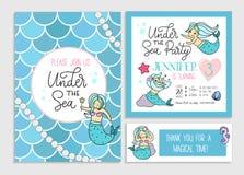 Under havspartiinbjudan för liten flickasjöjungfru Uppsättning av G vektor illustrationer