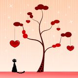 Under a heart tree. Illustration of a black cat under a tree with hearts Stock Photos
