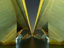 Under the Highway bridge. A night scene shot under the highway bridge above the sea in Singapore royalty free stock image