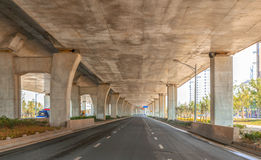 Under the highway overpass. This is a city highway overpass under Royalty Free Stock Images