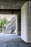 Under the highway, Urban city scene with stairs Stock Image