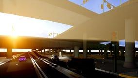 Under the highway. Urban scene Stock Image