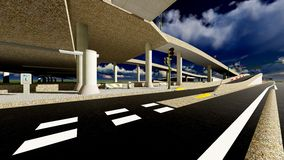 Under the highway. Urban scene Royalty Free Stock Photo
