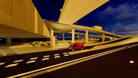 Under the highway. Urban scene Stock Photos