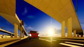 Under the highway. Urban scene Stock Photography
