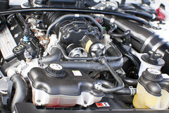 Under The Hood. Car engine under the open hood Royalty Free Stock Photos