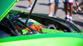 Under the Hood of a Green Sportive Car stock video footage