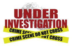 Under Investigation With Crime Scene Tape stock illustration