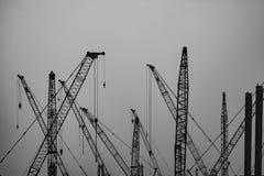 Under konstruktion - flera kranar på arbete royaltyfri foto