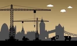 Under konstruktion London stad, UK royaltyfri illustrationer