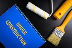 Under konstruktionsbegreppsbakgrund för blogg eller webpage Överkant v Royaltyfri Fotografi