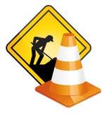 Under konstruktionstecken och trafikkotte Fotografering för Bildbyråer