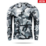 Under layer compression shirt with long sleeve in camouflage style. Stock Photos