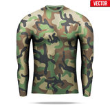 Under layer compression shirt with long sleeve in camouflage style. Stock Images